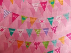 PINK BUNTING FABRIC DESIGNED BY M*LISS FABRIC per 1 metre DESIGNER